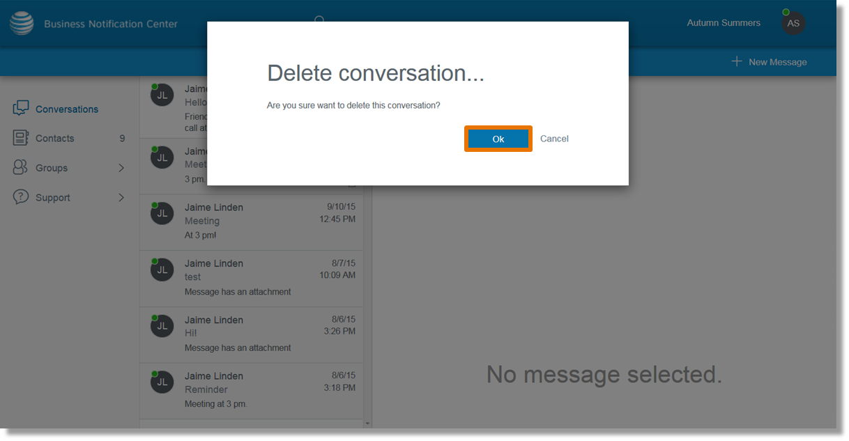 Steps 5-6 box populates to confirm you want to delete the message, click ok.