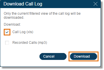 Select Call Log, and then click Download.