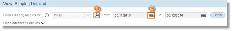 """Select the """"From"""" radio button, then click the calendar icon."""