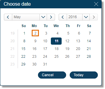Select the date from the calendar.