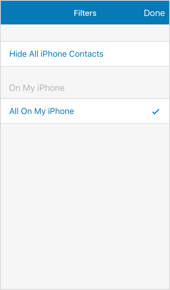 Display or hide iPhone contacts.