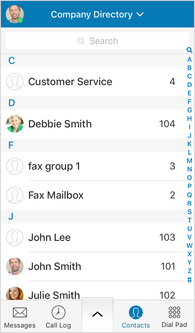 The Company Directory displays company contacts.