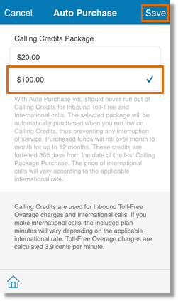 Choose your desired Calling Credits Package, then tap Save.