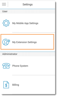 Image of screen showing My Extension Settings