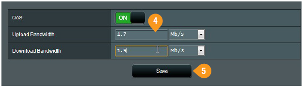 Click Save after entering your bandwidth figures.