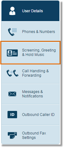 Click screening gretting and hold music