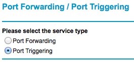 Select either port forwarding or port triggering radio button.