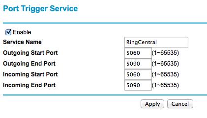 Port trigger service screen.
