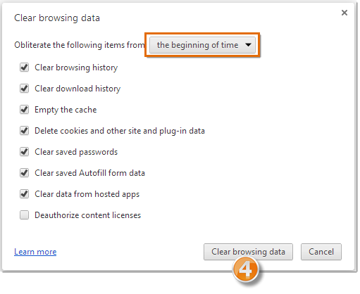 Clear browsing data screen, select beginning of time.