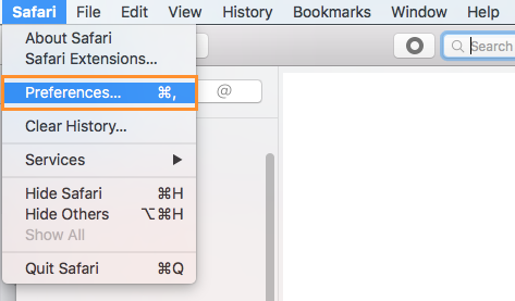 From the Safari menu, click Preferences
