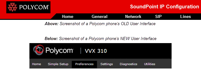 Screenshots of Polycom phone's old and new user interface.