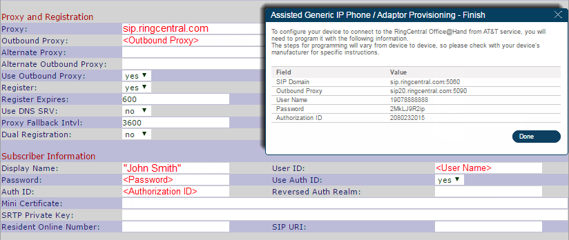 Scroll to Proxy and Registration, and configure settings.