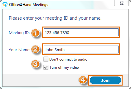 Enter your meeting ID and your name and click Join.