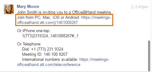 Clicking the invitation link sent via instant message