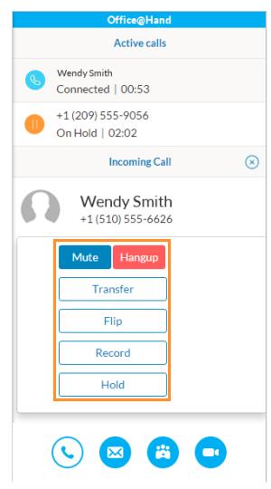 Screen of call controls