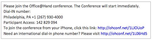 Conference invite screen.