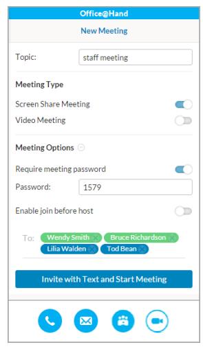 Skype settings screen for Office@Hand