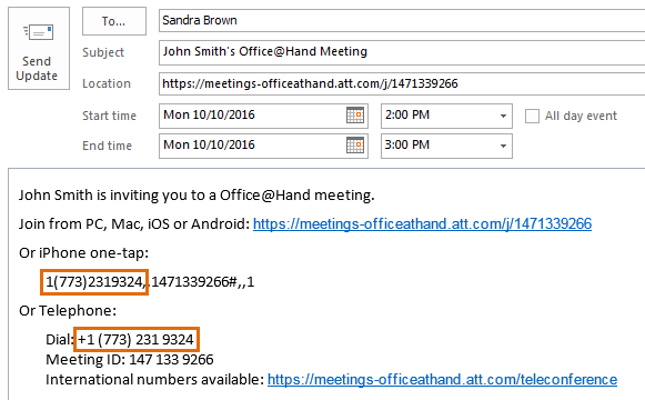 Email invite showing dial number for meeting