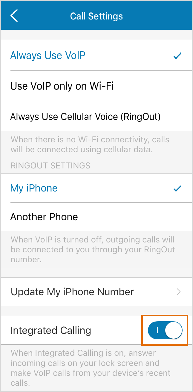 Enable or disable Integrated Calling.