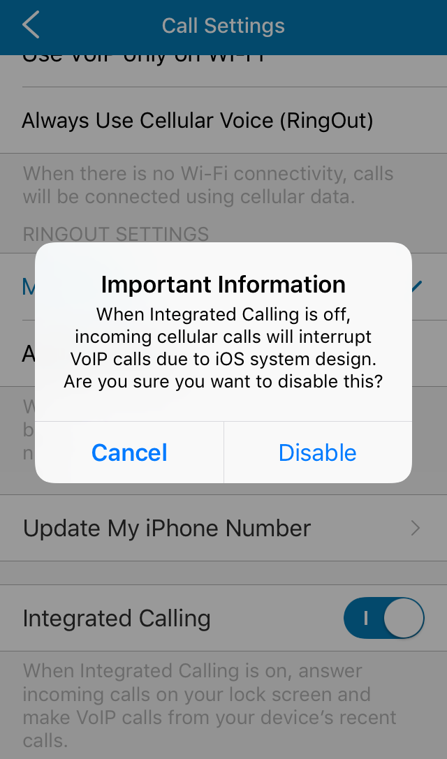 A notification appears when integrated calling is disabled.