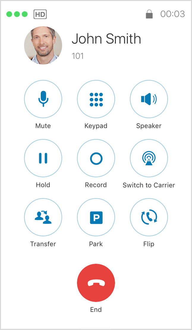 When a call is accepted, a white screen appears and provides all functions to the user.
