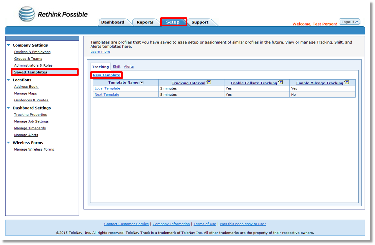 Creating A Tracking Template Using The Telenav Track Web Interface