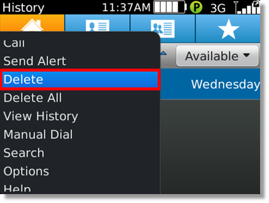 how to delete contact from blackberry classic