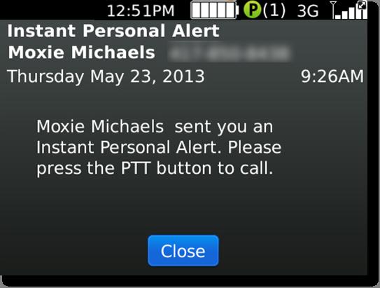 Instant personal alert