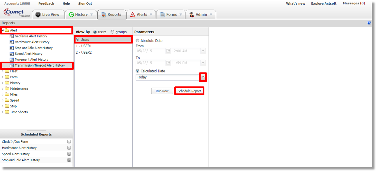 Schedule a Transmission Timeout Alert History report with Actsoft