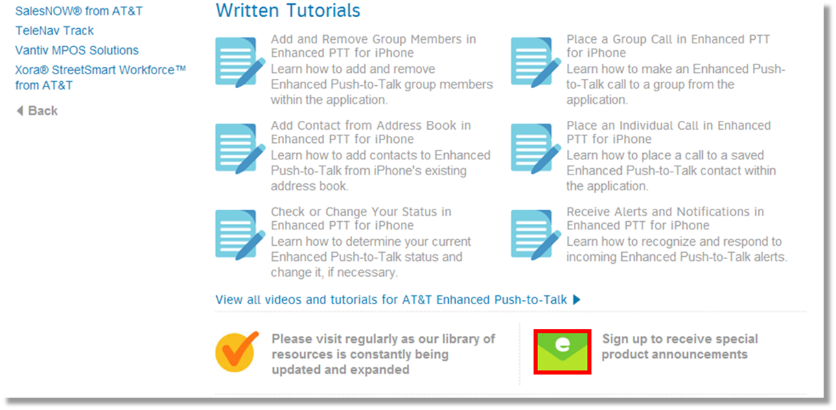 Sign up for product announcements for AT&T Enhanced Push-to