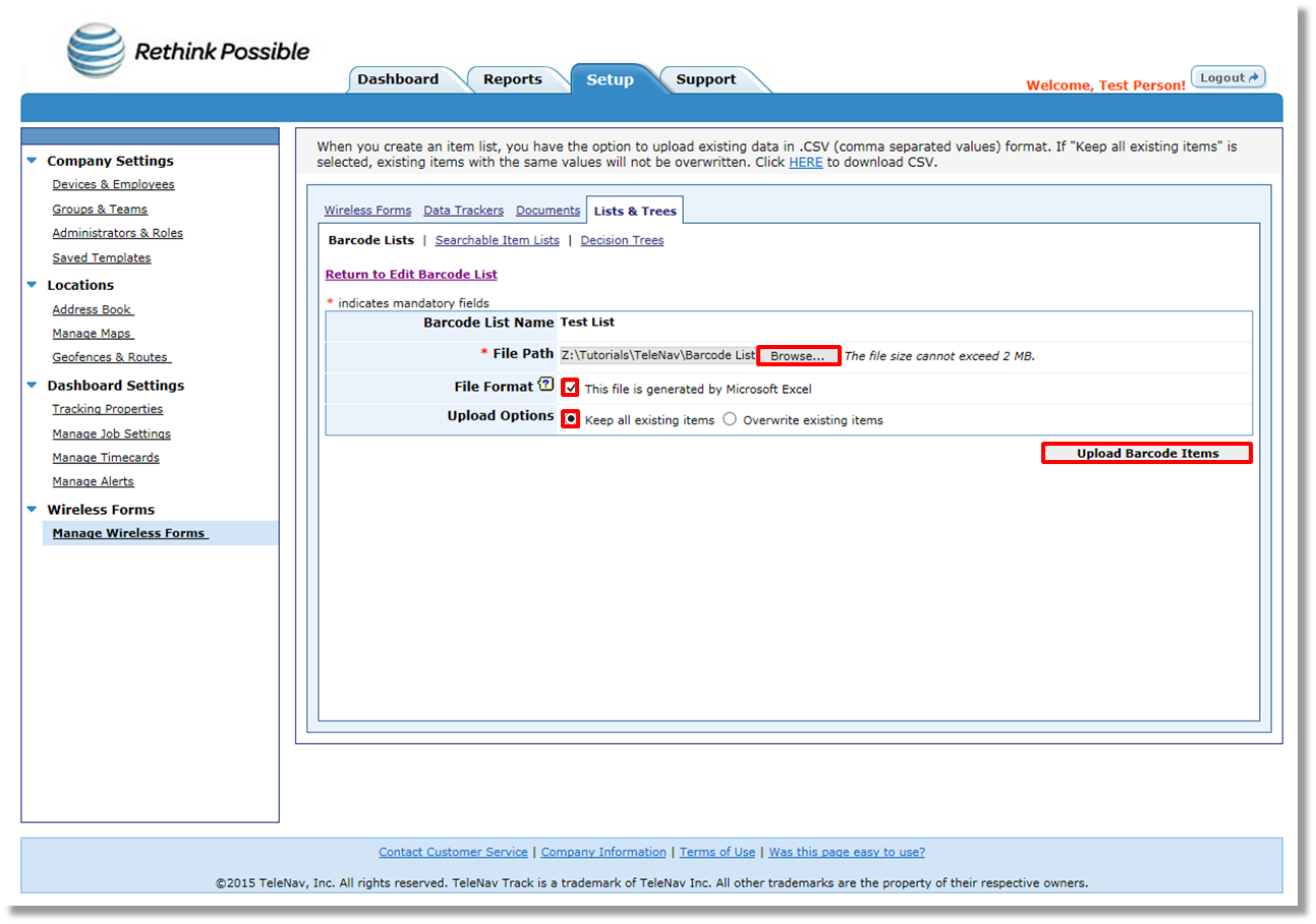 Uploading items to a barcode list using the TeleNav Track
