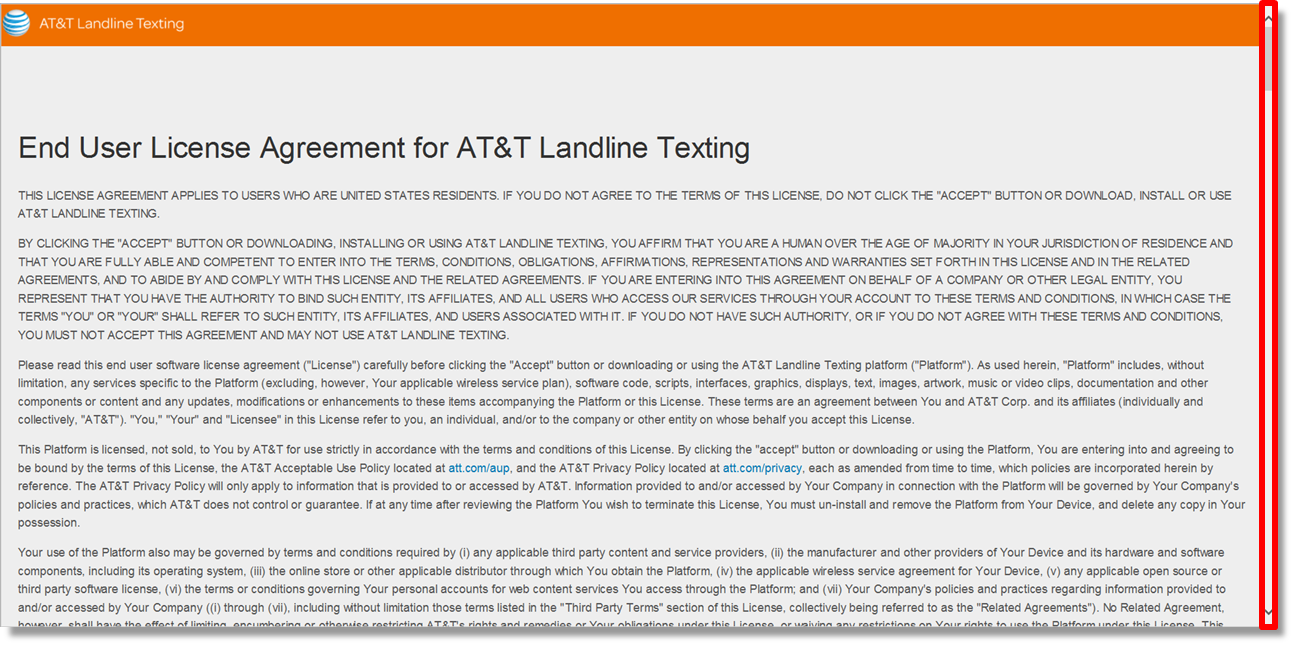 Viewing The End User License Agreement In The Att Landline Texting