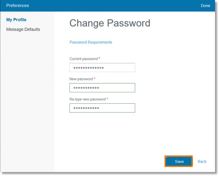 Click Change Password.