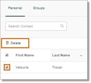 Click the box on the name of the contact that you want to remove, and then click the Delete button.