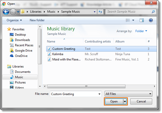 A pop-up window appears where you can locate and select the audio file to upload.