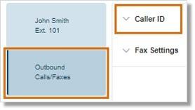 Click Outbound Calls / Faxes and select Caller ID.