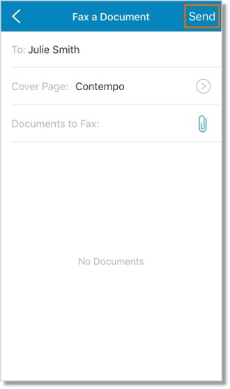 Set the cover page and/or attach the documents to your fax message. Tap Send.