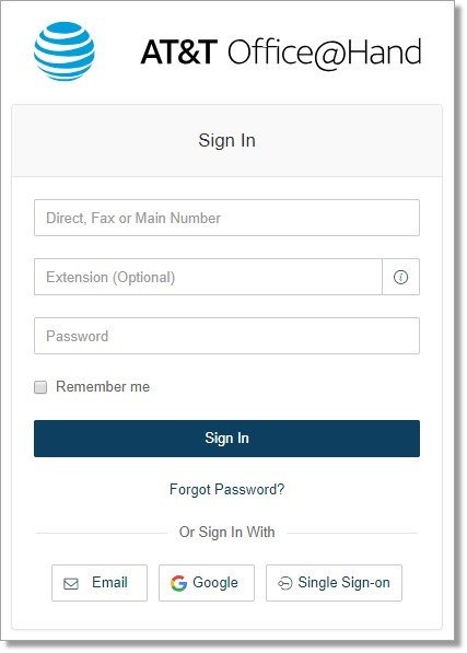 In the Member Login form, enter your Office@Hand account credentials.
