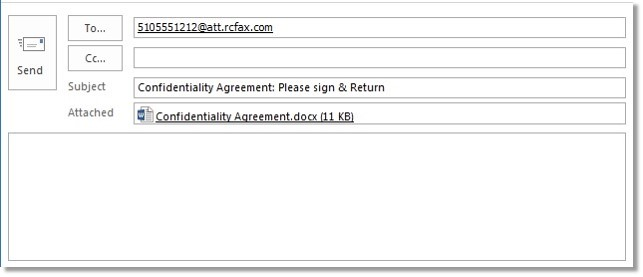 Attach the document you would like to include on your fax message.