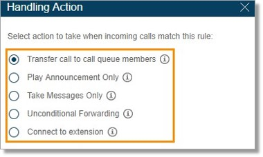 You may select how you want your calls to be handled