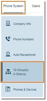 On the Admin Portal page, click Groups under Phone System.