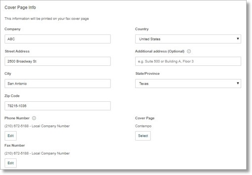 You can customize the information that will be printed on your fax cover page.