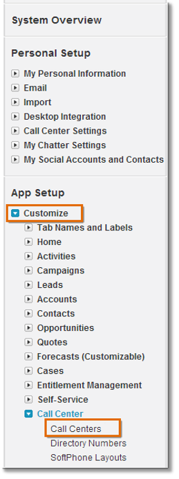 Located on the left hand side, Go to App Setup > Customize > Call center > Call Centers.
