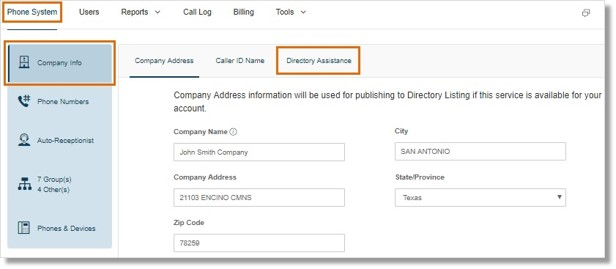 Go to Phone System > Company Info > Directory Assistance.