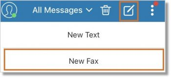 Tap the New Message button, then select New Fax.