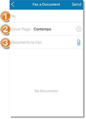 "Options of the ""Fax a Document"" screen."