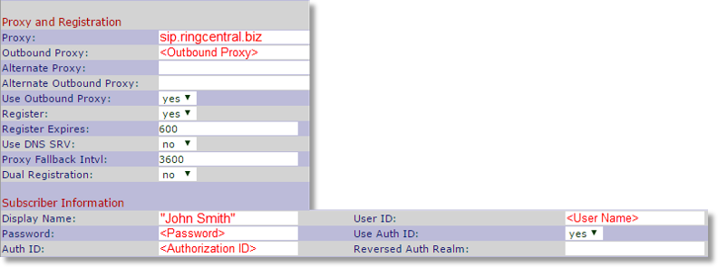 Scroll down and look for Proxy and Registration, and then configure the settings below, using the SIP Information from your Office@Hand account.