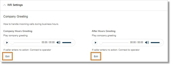 On either Company Hours Greeting or After Hours Greeting, click Edit.