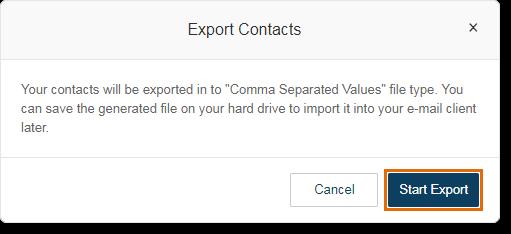 Click Start Export.