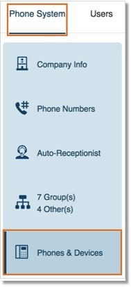 Go to Phone System, and then click Phones & Devices.